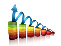3D success graph Stock Photos
