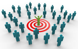 3d successful man. 3d man successfully achieved his target. Concept of goal achievement Stock Photo