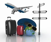 3d Suitcases, Airplane, Globe And Umbrella. Travel And Vacation Concept Royalty Free Stock Images