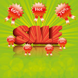3d Summer sale template. 3d green red Summer sale template Stock Photos