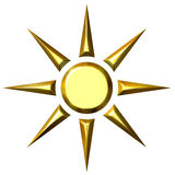 3D Sun de oro libre illustration