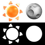3D sun and moon icon collection. Royalty Free Stock Photos