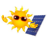 3d Sun powers a solar panel. 3d render of the sun next to a solar panel Stock Photo