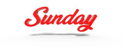 3D Sunday Red White Background. Royalty Free Stock Images