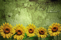 3D sunflower and background. 3D Sunflower on texture color background Royalty Free Stock Image