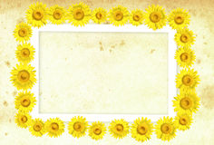 3D sunflower frame. On background, illustration Royalty Free Stock Photos