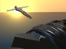 3D sunset cliff diver Stock Image