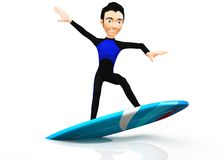 3D surfer Stock Photography