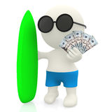 3D surfer with money Stock Photography