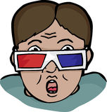 3D Surprise. Surprised young man with retro 3-D glasses Royalty Free Stock Image