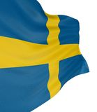 3D Swedish flag. With fabric surface texture. White background Royalty Free Stock Image