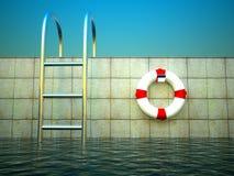 3d Swimmingpool und Lebenring Lizenzfreies Stockbild