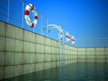 3d Swimmingpool und Lebenring Lizenzfreies Stockfoto