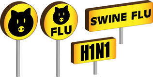3D Swine Flu Signs Stock Photography