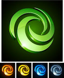 3d swirl emblems. Vector illustration of swirl shiny symbols Royalty Free Stock Image