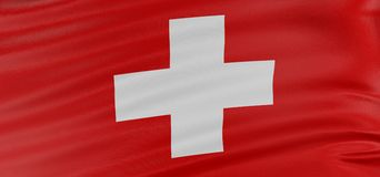 3D Swiss flag Royalty Free Stock Image