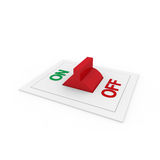 3d switch on off green red. Power button Royalty Free Stock Photos