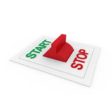 3d switch start stop green red Stock Photography