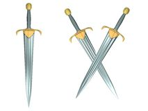 3D Swords. One single and two crossed, isolated stock illustration