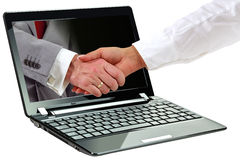 3d symbol of internet deal. Laptop with 3d business agreement symbol on display Stock Image