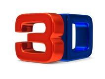 3D symbol na białym tle Zdjęcia Stock