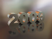 3d symbol  newyear. High resolution image new-year.  3d illustration. Metal text. Mirror reflection Royalty Free Stock Photo