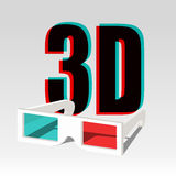 3d symbol and specs. 3D symbol with chromatic aberration and three dimensional glasses Stock Image