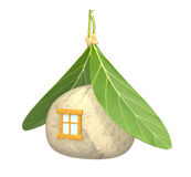 3d symbolical non-polluting house. Objects over white Stock Image