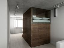 3d sypialni nowożytny wewnętrzny odpłaca się Zdjęcie Royalty Free