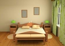 3d sypialni wnętrze Obraz Royalty Free