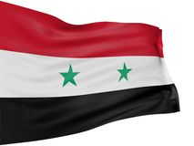 3D syrian flag. With fabric surface texture. White background Royalty Free Stock Image
