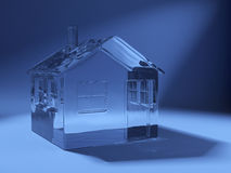 3d szkła domu ikona robić Zdjęcie Stock