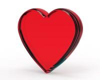3d szklanego serca odosobniony czerwony biel Zdjęcie Royalty Free