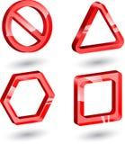 3d szklani czerwoni znaki ilustracji