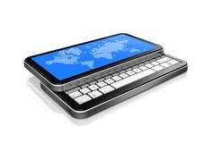 3D téléphone portable, pda avec le worldmap sur l'écran Images stock