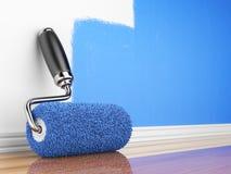 3d tömmer den home målningsrenoveringväggen Stock Illustrationer