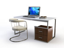3d table. Stylish 3d chair and table on white Stock Photos