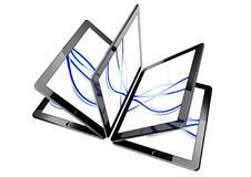 3d tablet pc, concept of ebook. 3d tablet pc screen, concept of ebook Stock Image