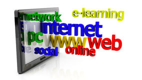 3d tablet pc and internet related words Stock Photos