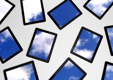 3d tablet pc, sky background on screens Royalty Free Stock Photos