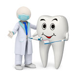 3d tandarts met een een het glimlachen tand en tandenborstel Royalty-vrije Stock Afbeeldingen
