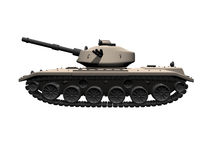 3D tank side view on white background Royalty Free Stock Photos