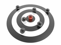 3d target. And seven spheres Royalty Free Stock Image