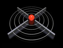 3d target. With green sphere Stock Photos