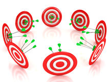 3d target with arrows over white background. Computer generated image Stock Image