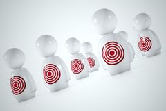 3d target characters. 3d characters with red target on a white background Stock Illustration