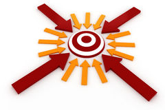 3d target and colorful arrows. On white Stock Photo