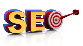 3d target seo. 3d render of target seo - search engine optimization Stock Photography