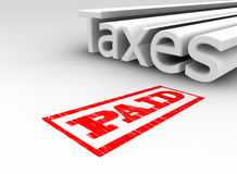 3D Taxes Paid. 3D rendered text of the word taxes with a paid stamp on the floor Stock Photo