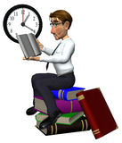 3d teacher on books on time. 3d teacher is on books and on time Royalty Free Stock Photo